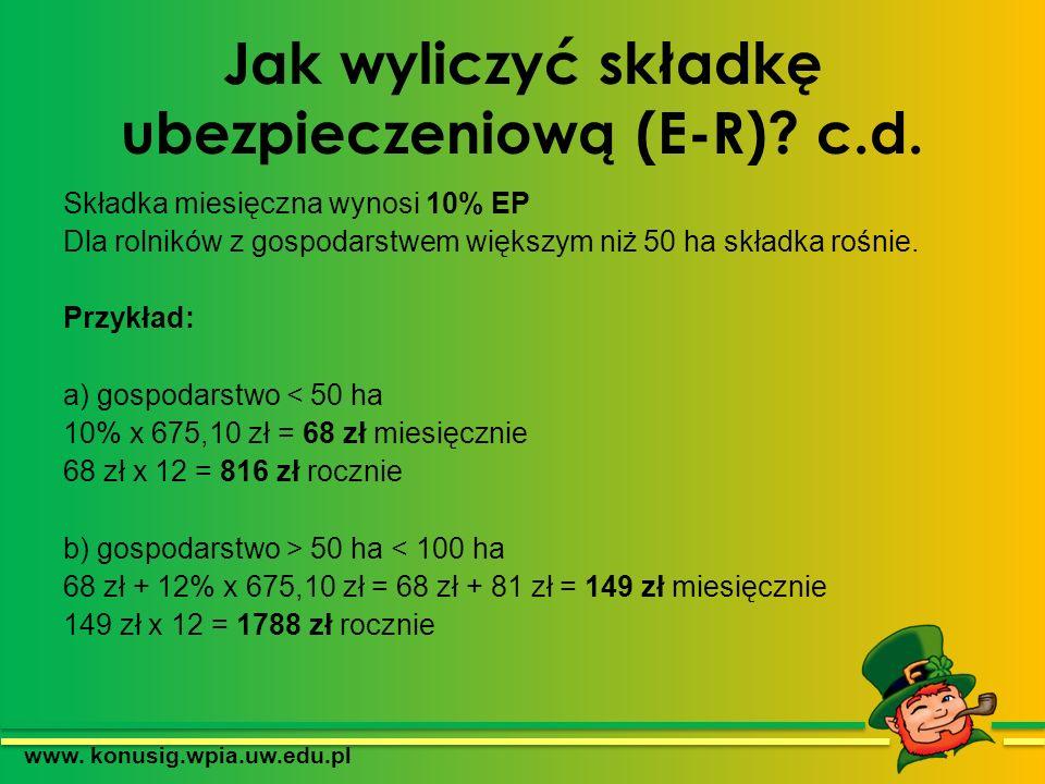 Jak wyliczyć składkę ubezpieczeniową (E-R) c.d.