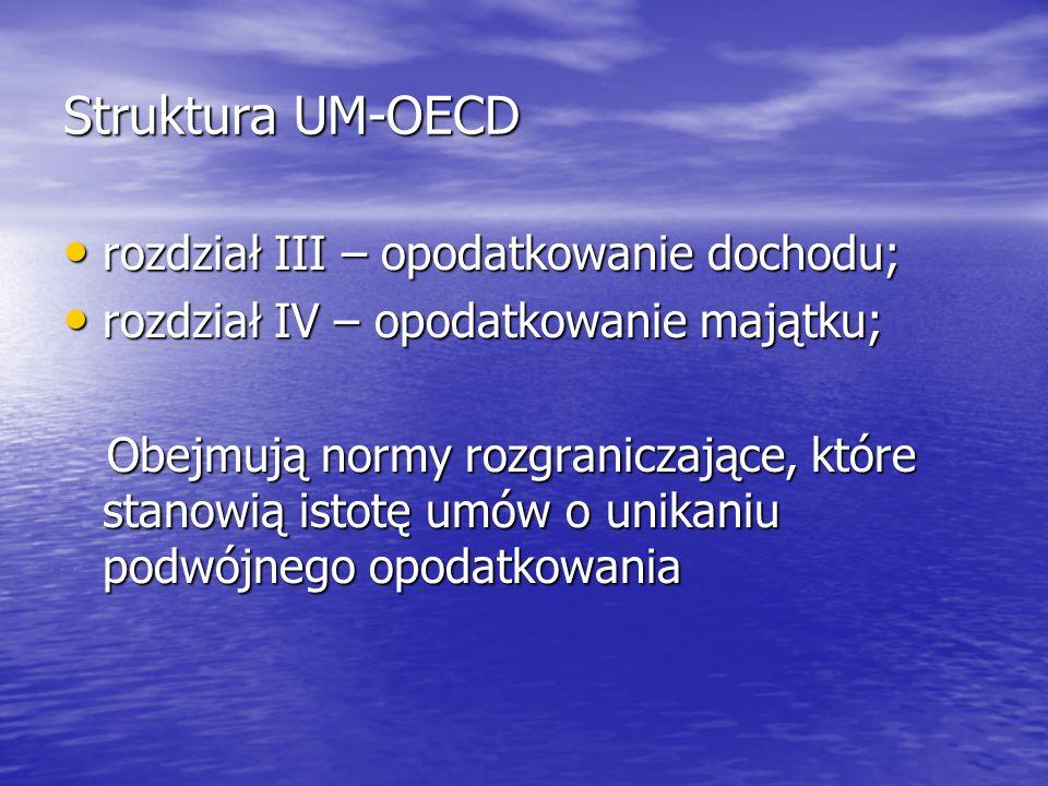 Struktura UM-OECD rozdział III – opodatkowanie dochodu;