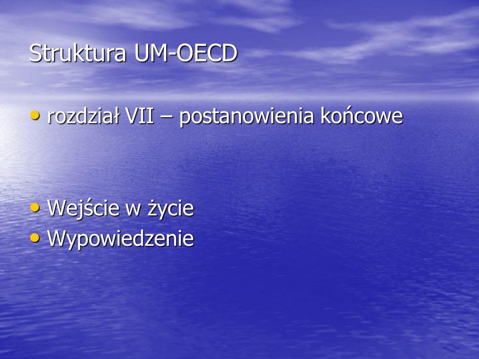 Struktura UM-OECD rozdział VII – postanowienia końcowe Wejście w życie