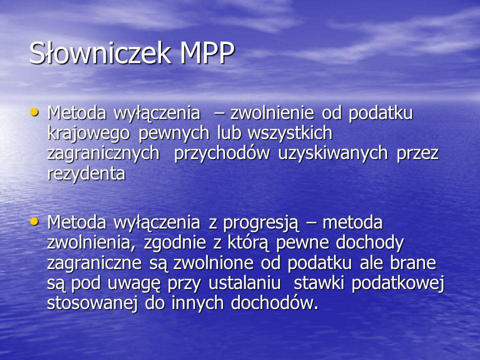 Słowniczek MPP Metoda wyłączenia – zwolnienie od podatku krajowego pewnych lub wszystkich zagranicznych przychodów uzyskiwanych przez rezydenta.