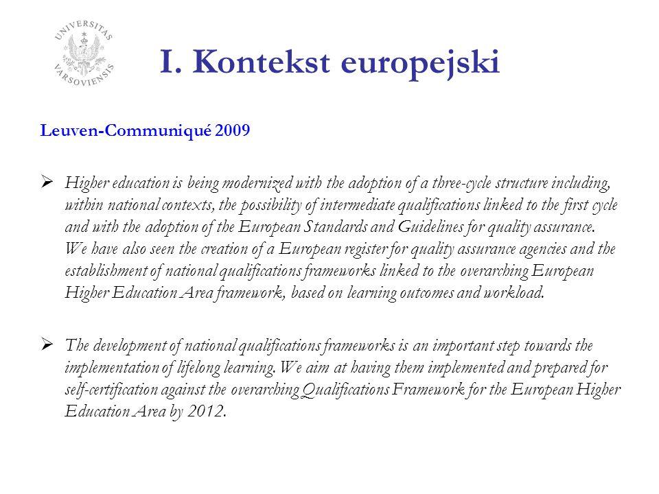 I. Kontekst europejski Leuven-Communiqué 2009