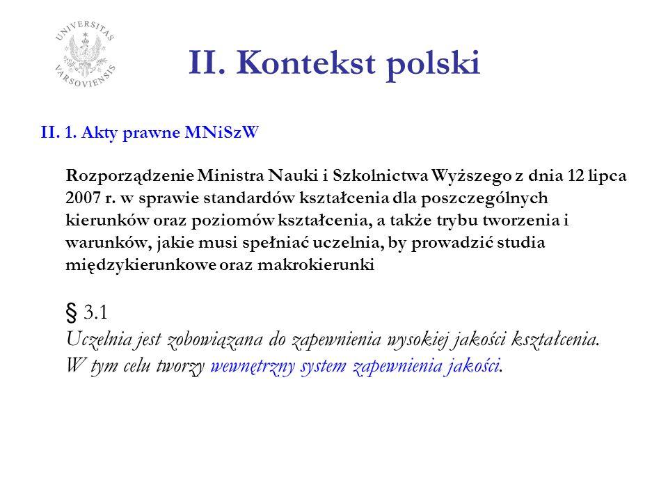 II. Kontekst polski II. 1. Akty prawne MNiSzW.