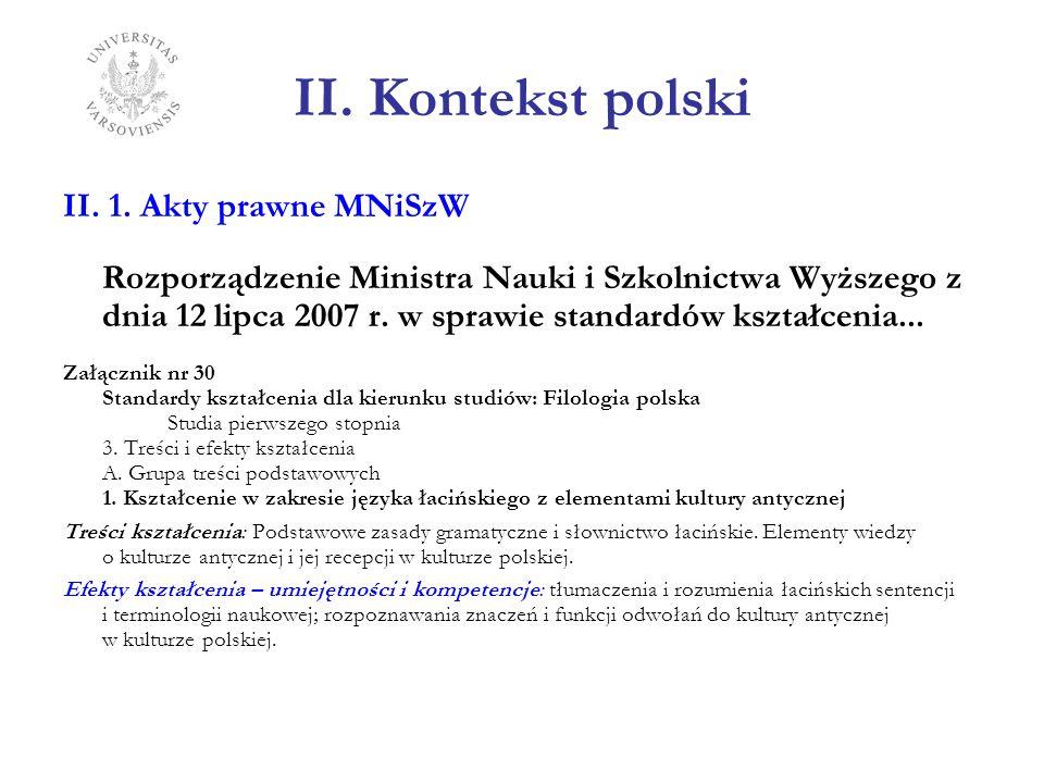 II. Kontekst polski II. 1. Akty prawne MNiSzW