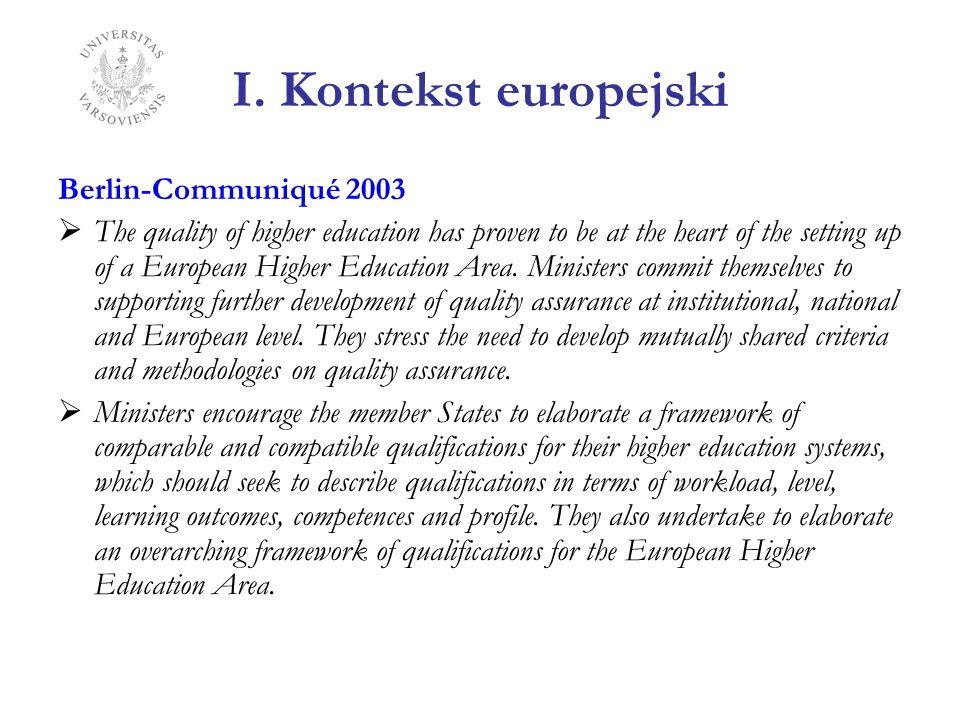 I. Kontekst europejski Berlin-Communiqué 2003