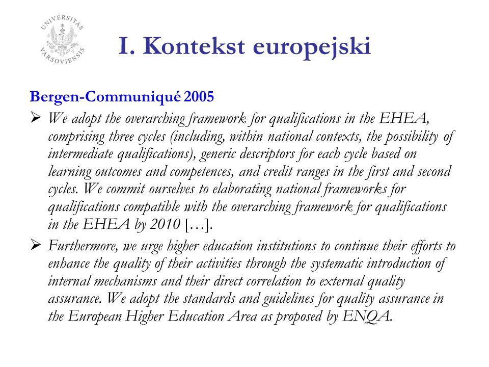 I. Kontekst europejski Bergen-Communiqué 2005