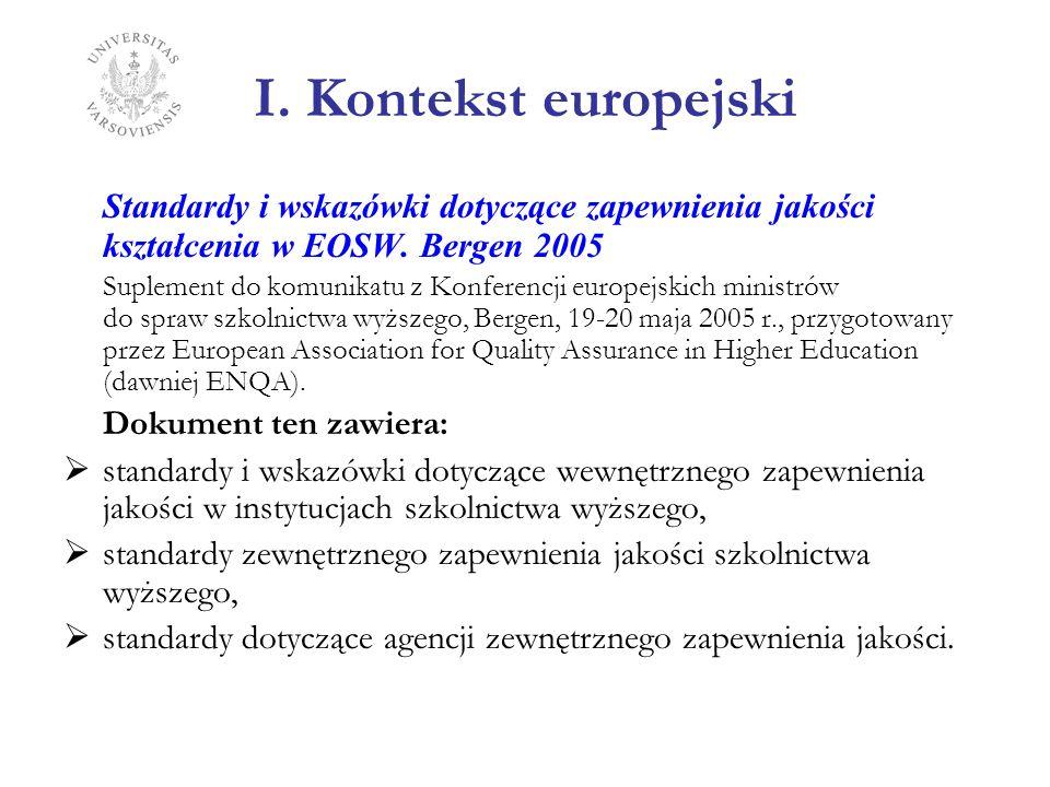 I. Kontekst europejski Standardy i wskazówki dotyczące zapewnienia jakości kształcenia w EOSW. Bergen 2005.