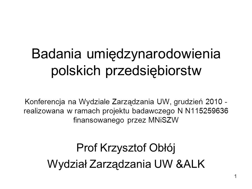 Prof Krzysztof Obłój Wydział Zarządzania UW &ALK