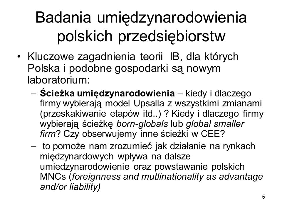 Badania umiędzynarodowienia polskich przedsiębiorstw