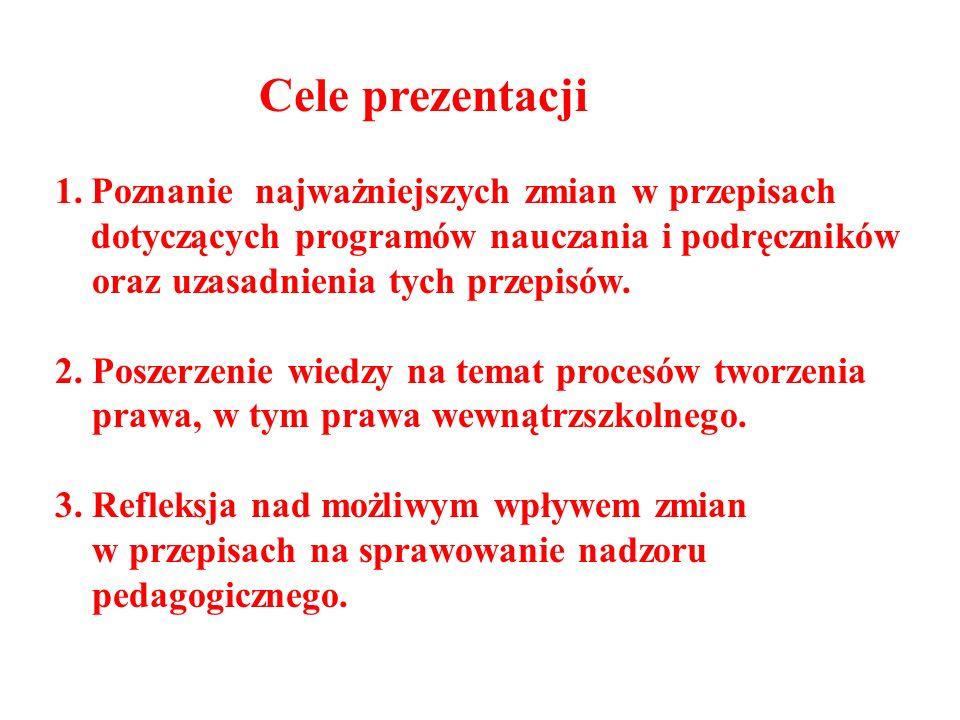 Cele prezentacji Poznanie najważniejszych zmian w przepisach