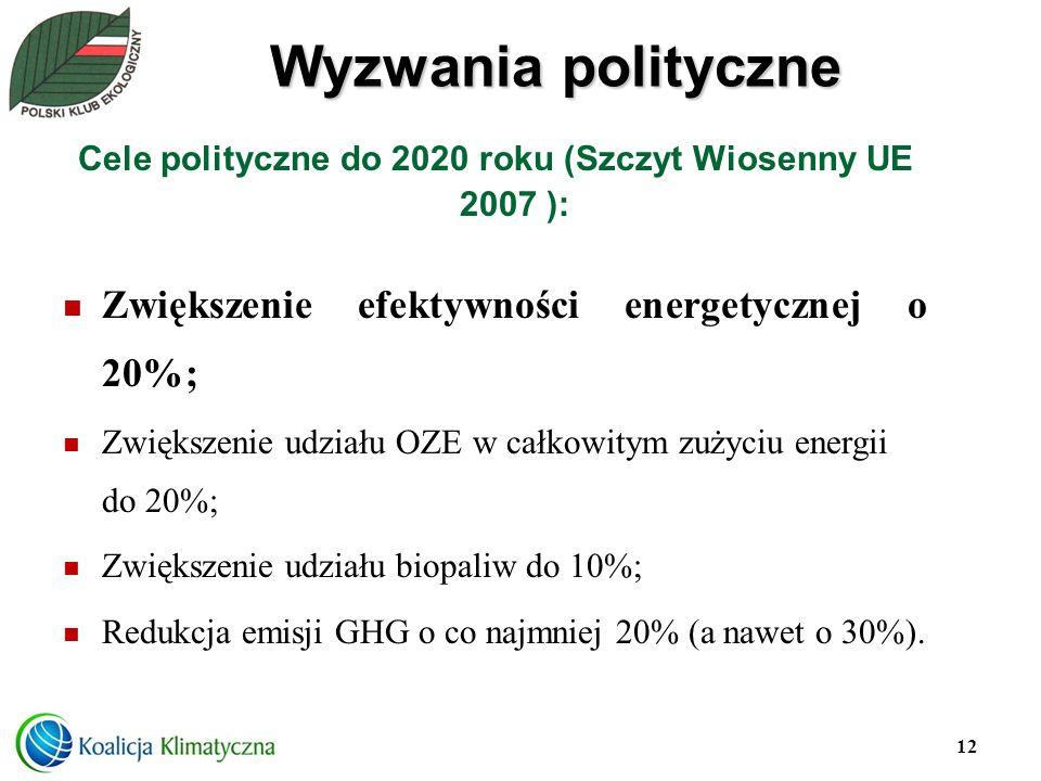 Cele polityczne do 2020 roku (Szczyt Wiosenny UE 2007 ):