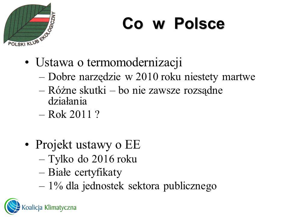 Co w Polsce Ustawa o termomodernizacji Projekt ustawy o EE