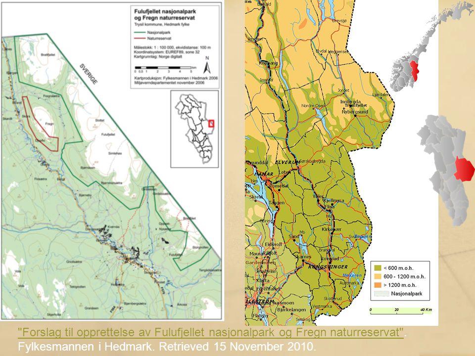 Forslag til opprettelse av Fulufjellet nasjonalpark og Fregn naturreservat .