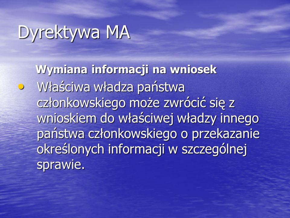 Dyrektywa MA Wymiana informacji na wniosek.