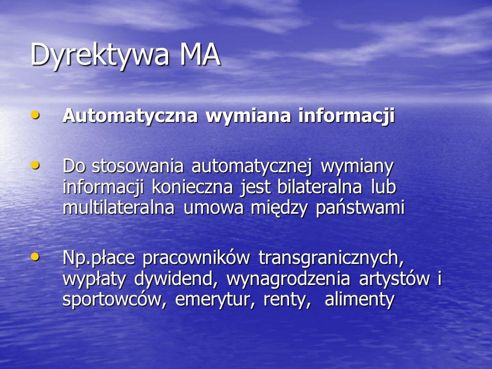 Dyrektywa MA Automatyczna wymiana informacji