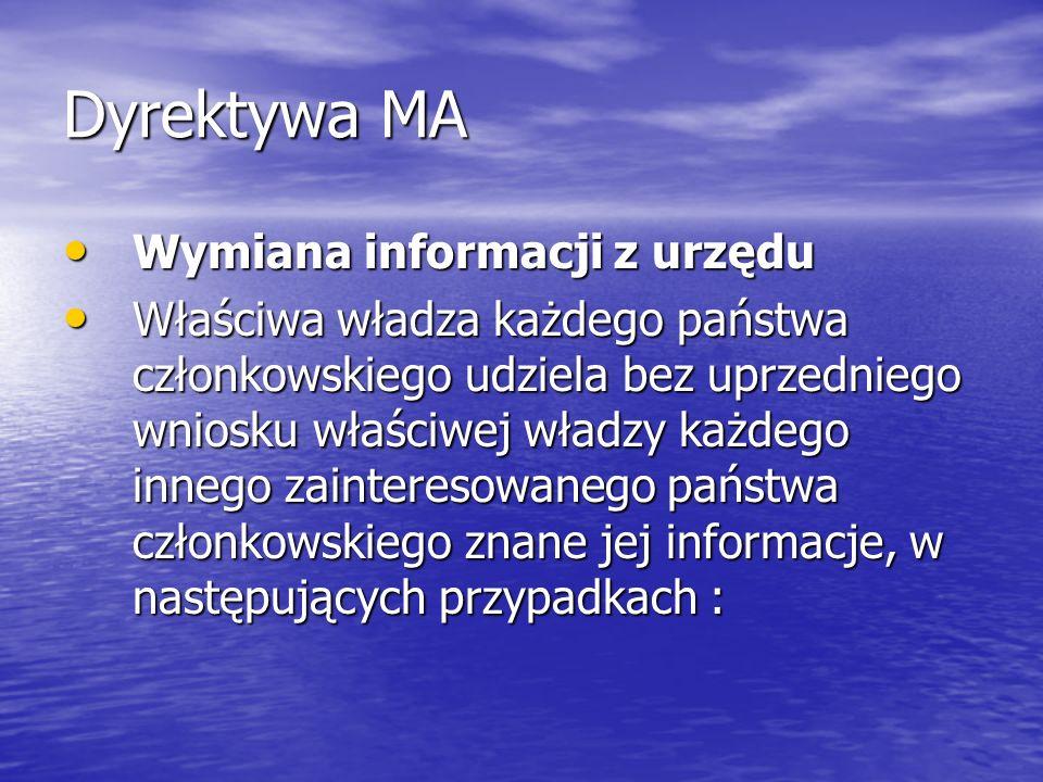 Dyrektywa MA Wymiana informacji z urzędu