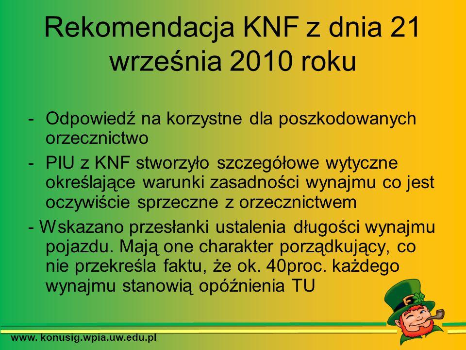 Rekomendacja KNF z dnia 21 września 2010 roku