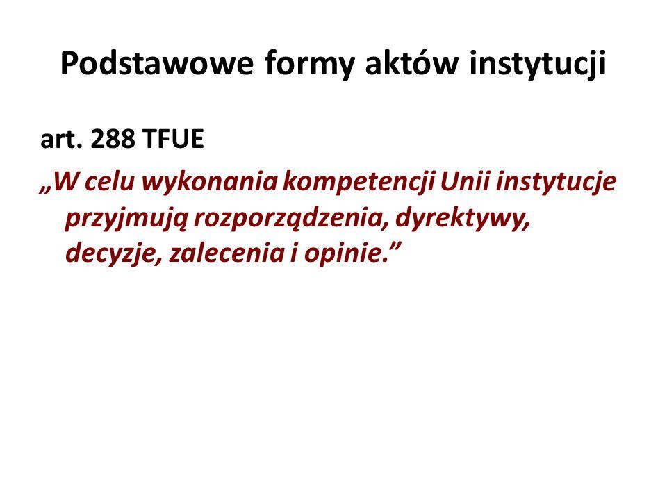 Podstawowe formy aktów instytucji
