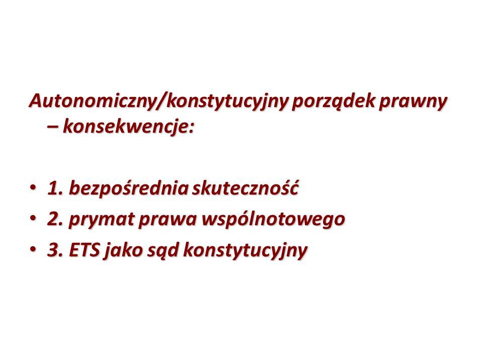 Autonomiczny/konstytucyjny porządek prawny – konsekwencje: