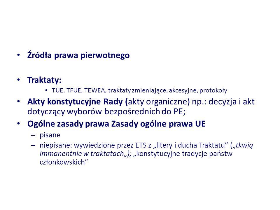 Źródła prawa pierwotnego Traktaty: