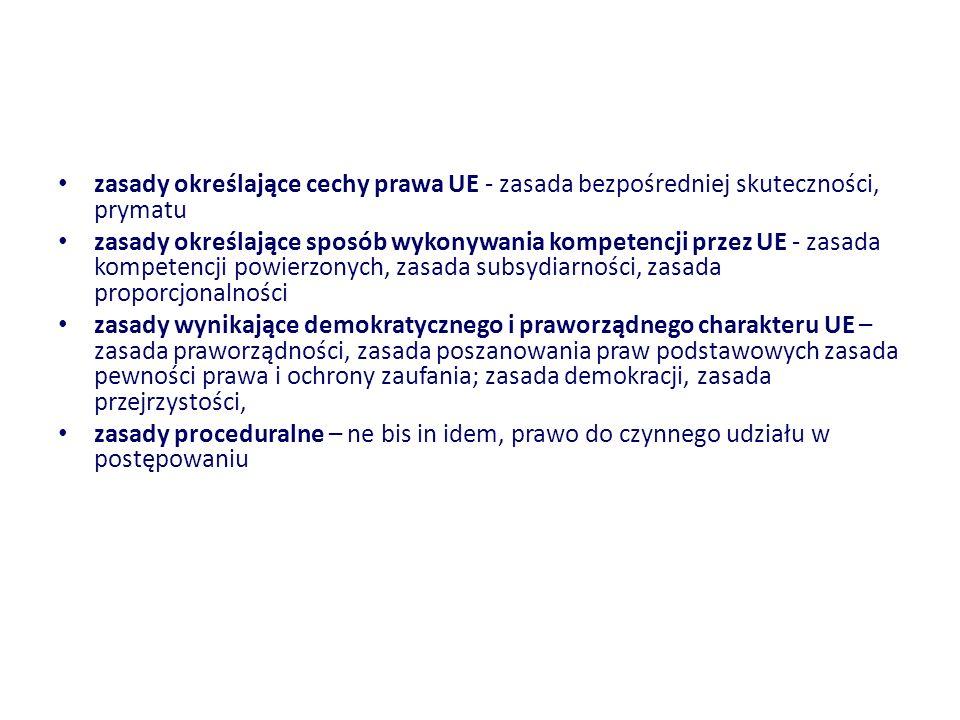 zasady określające cechy prawa UE - zasada bezpośredniej skuteczności, prymatu