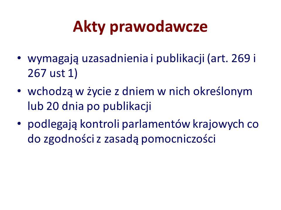 Akty prawodawcze wymagają uzasadnienia i publikacji (art. 269 i 267 ust 1) wchodzą w życie z dniem w nich określonym lub 20 dnia po publikacji.