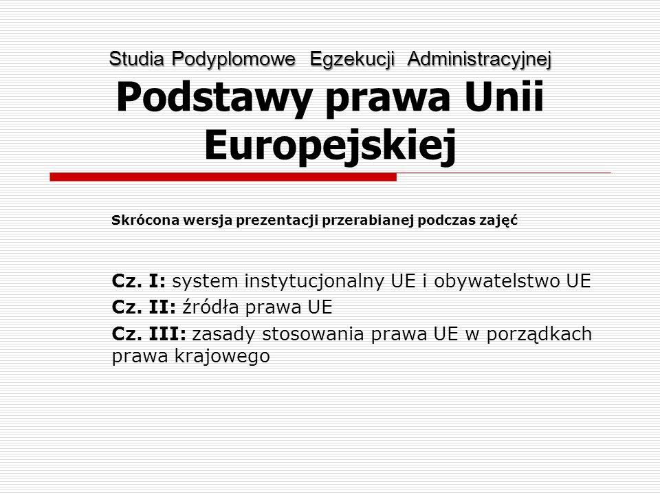 Studia Podyplomowe Egzekucji Administracyjnej Podstawy prawa Unii Europejskiej
