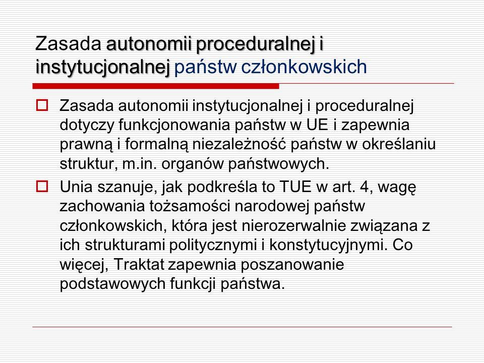 Zasada autonomii proceduralnej i instytucjonalnej państw członkowskich