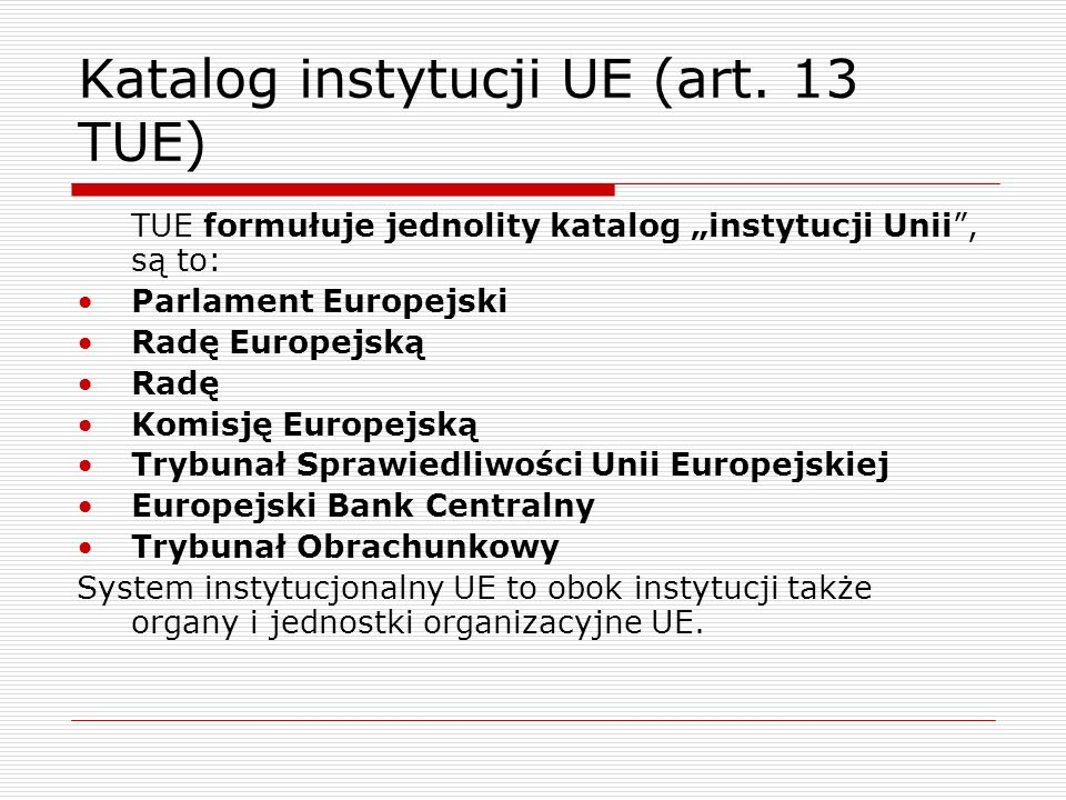 Katalog instytucji UE (art. 13 TUE)