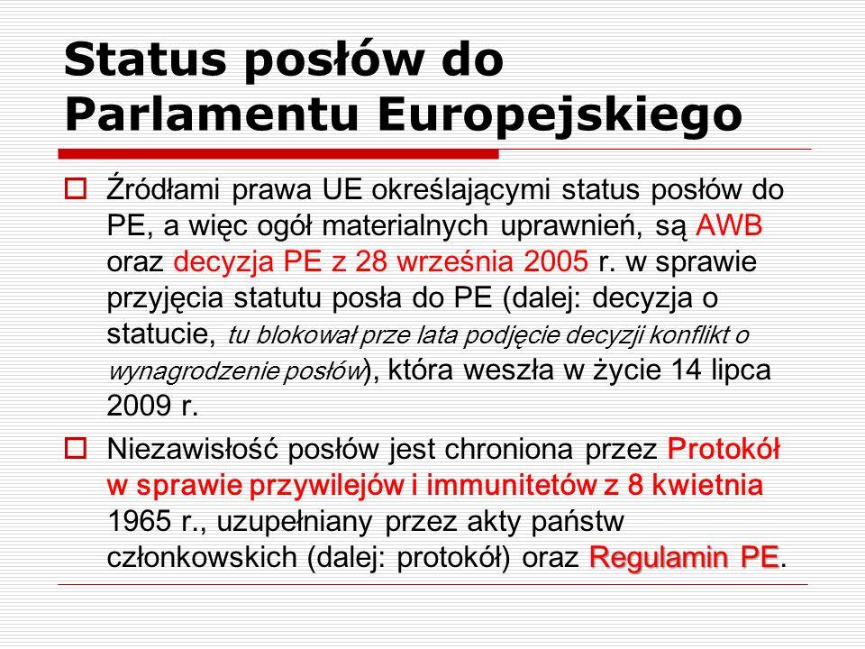 Status posłów do Parlamentu Europejskiego