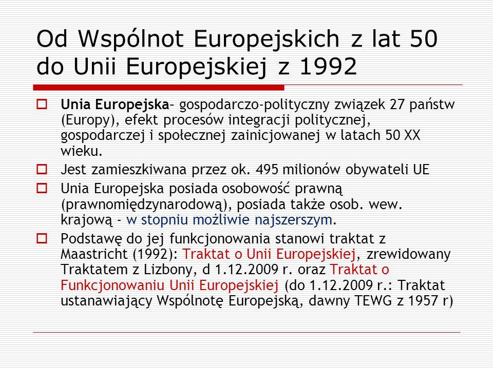 Od Wspólnot Europejskich z lat 50 do Unii Europejskiej z 1992