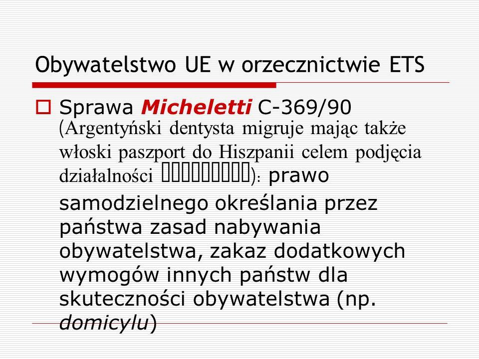 Obywatelstwo UE w orzecznictwie ETS