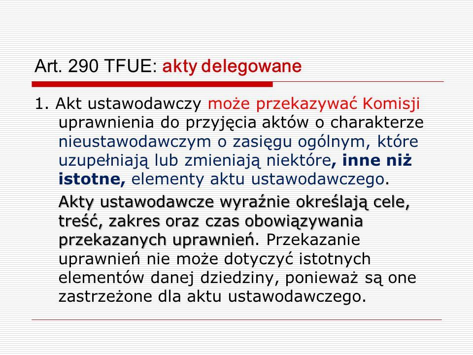 Art. 290 TFUE: akty delegowane