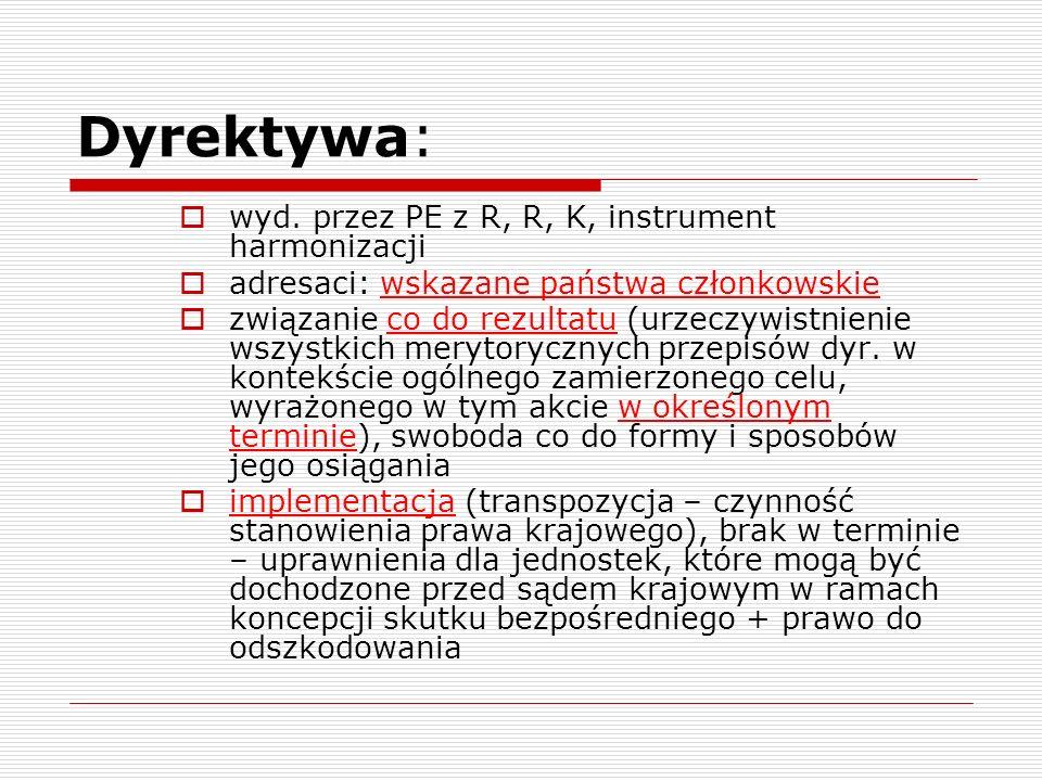 Dyrektywa: wyd. przez PE z R, R, K, instrument harmonizacji