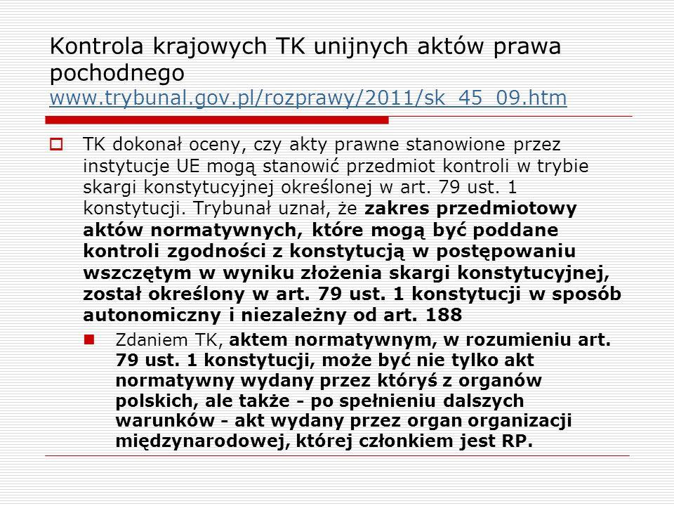 Kontrola krajowych TK unijnych aktów prawa pochodnego www. trybunal