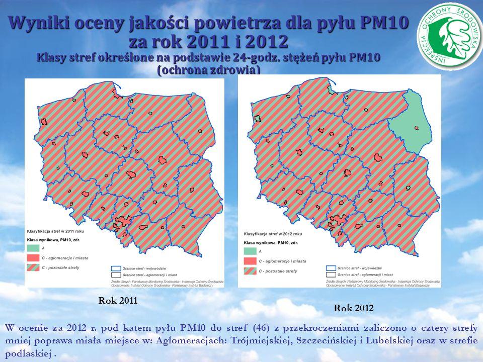 Wyniki oceny jakości powietrza dla pyłu PM10 za rok 2011 i 2012 Klasy stref określone na podstawie 24-godz. stężeń pyłu PM10 (ochrona zdrowia)