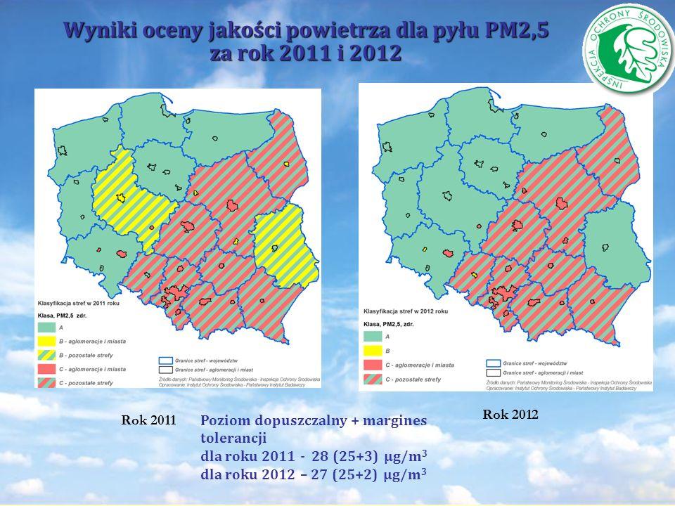 Wyniki oceny jakości powietrza dla pyłu PM2,5 za rok 2011 i 2012