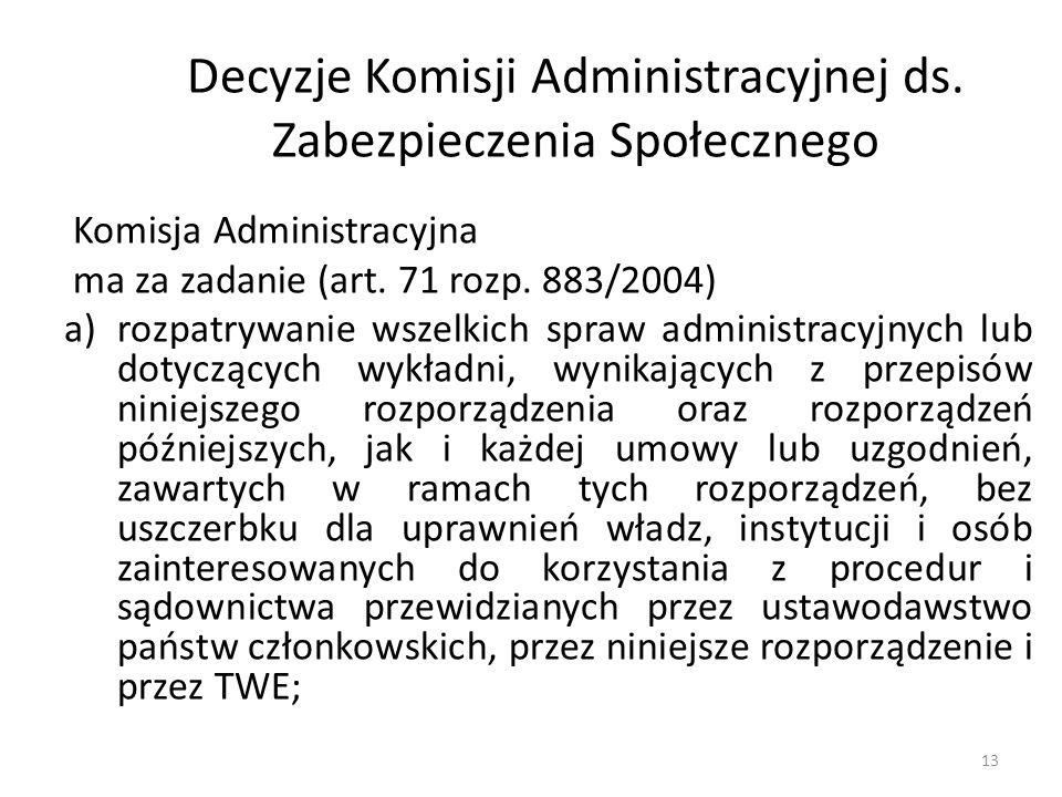 Decyzje Komisji Administracyjnej ds. Zabezpieczenia Społecznego