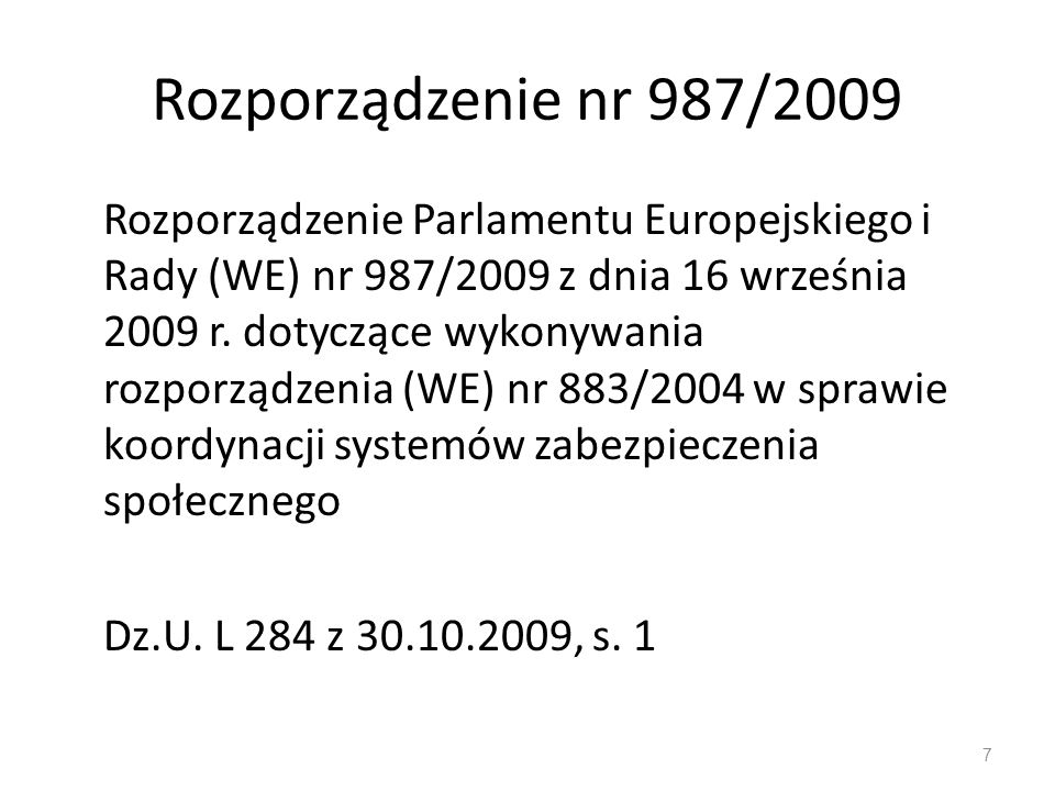 Rozporządzenie nr 987/2009