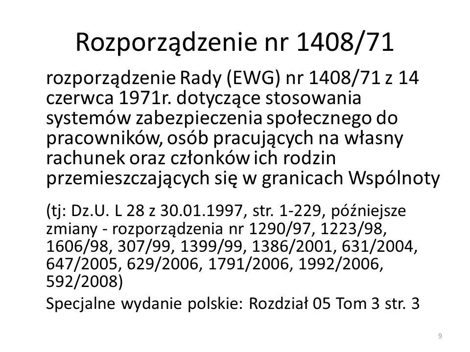 Rozporządzenie nr 1408/71