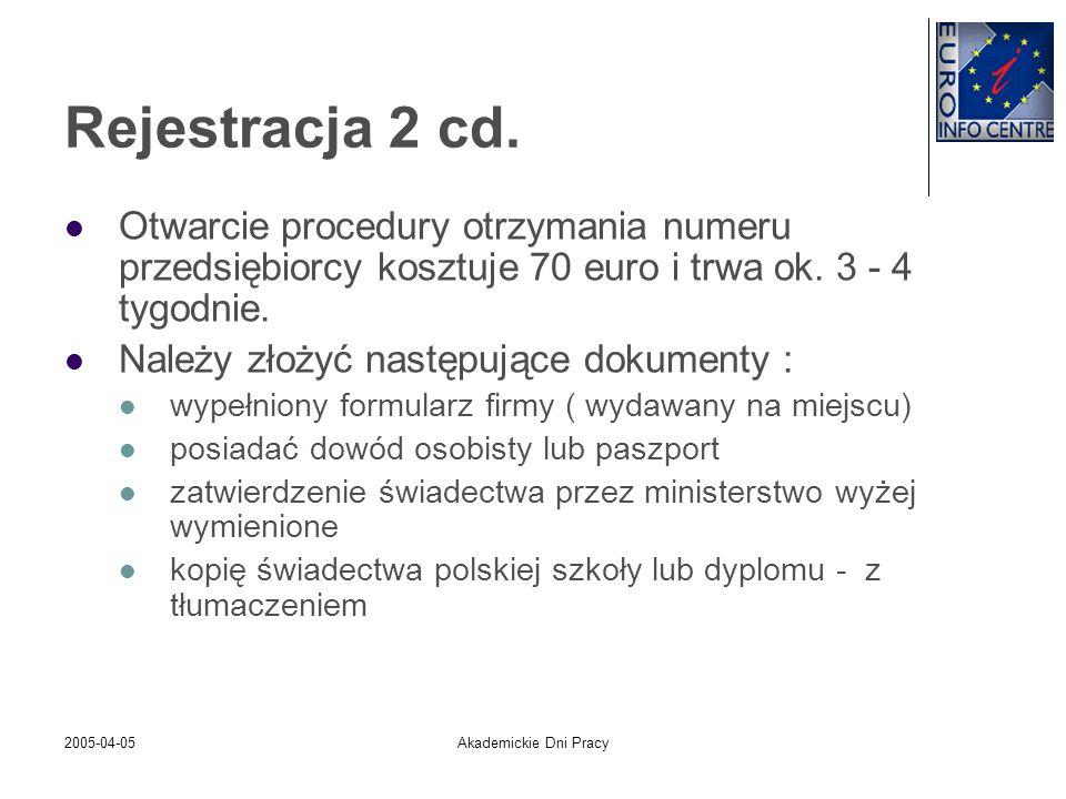 Rejestracja 2 cd.Otwarcie procedury otrzymania numeru przedsiębiorcy kosztuje 70 euro i trwa ok. 3 - 4 tygodnie.