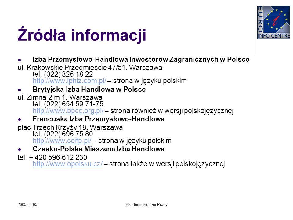 Źródła informacjiIzba Przemysłowo-Handlowa Inwestorów Zagranicznych w Polsce.