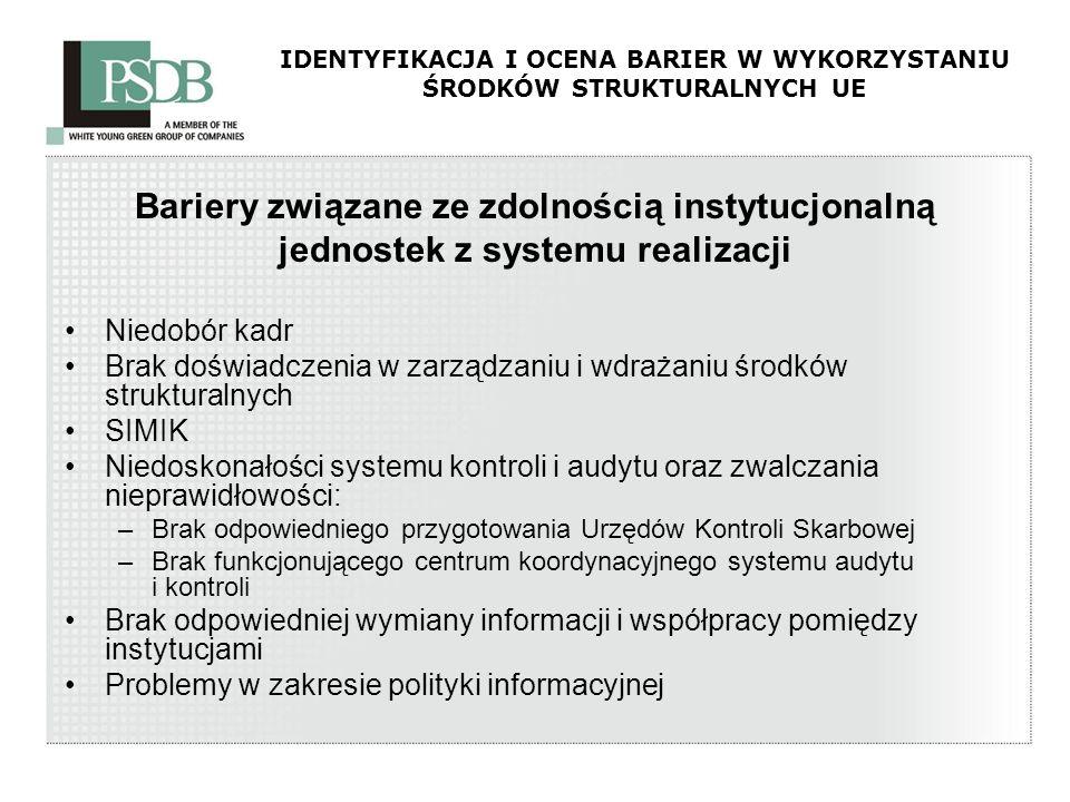 IDENTYFIKACJA I OCENA BARIER W WYKORZYSTANIU ŚRODKÓW STRUKTURALNYCH UE