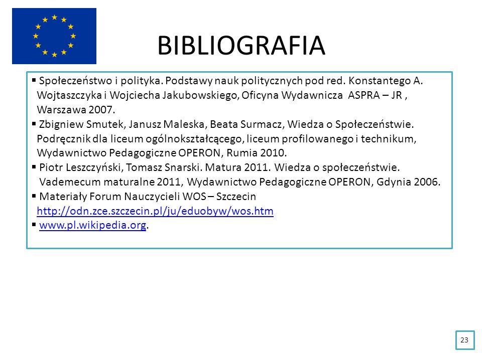 BIBLIOGRAFIA Społeczeństwo i polityka. Podstawy nauk politycznych pod red. Konstantego A.