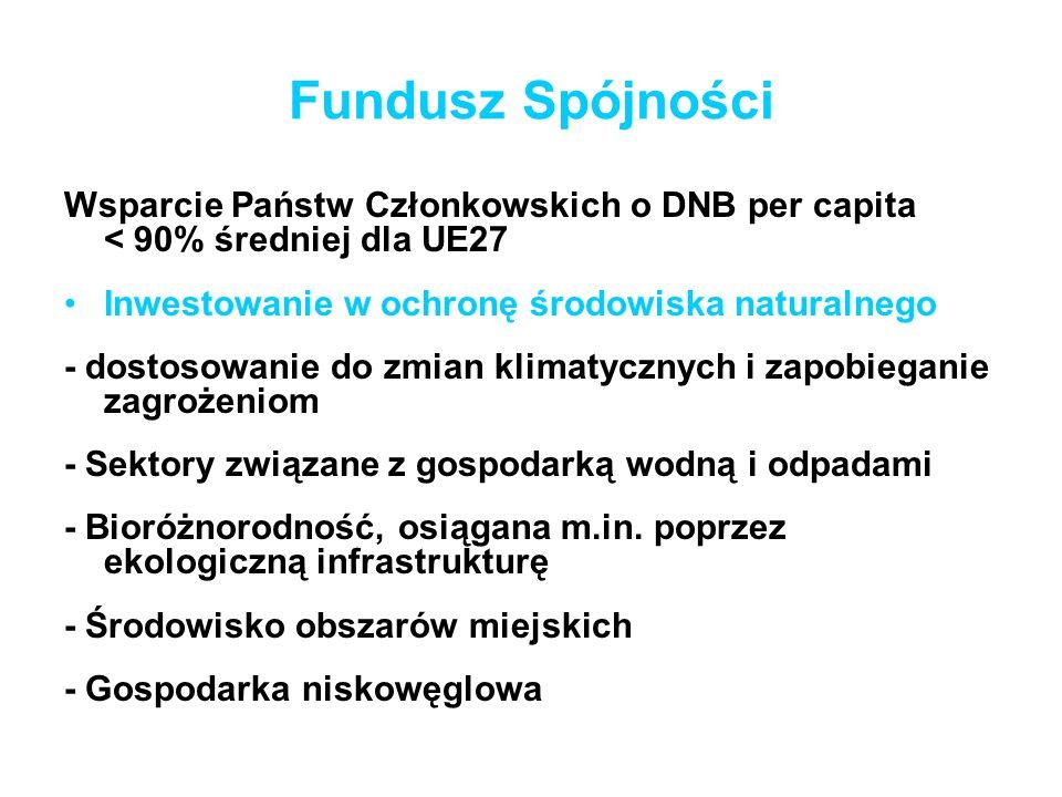 Fundusz Spójności Wsparcie Państw Członkowskich o DNB per capita < 90% średniej dla UE27.