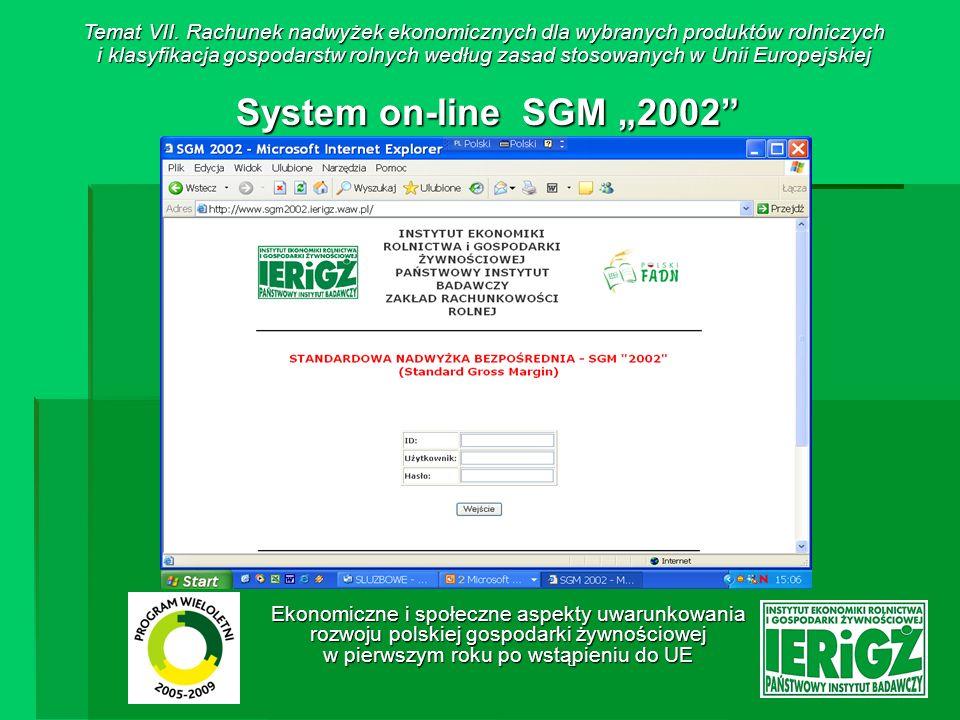 Temat VII. Rachunek nadwyżek ekonomicznych dla wybranych produktów rolniczych i klasyfikacja gospodarstw rolnych według zasad stosowanych w Unii Europejskiej