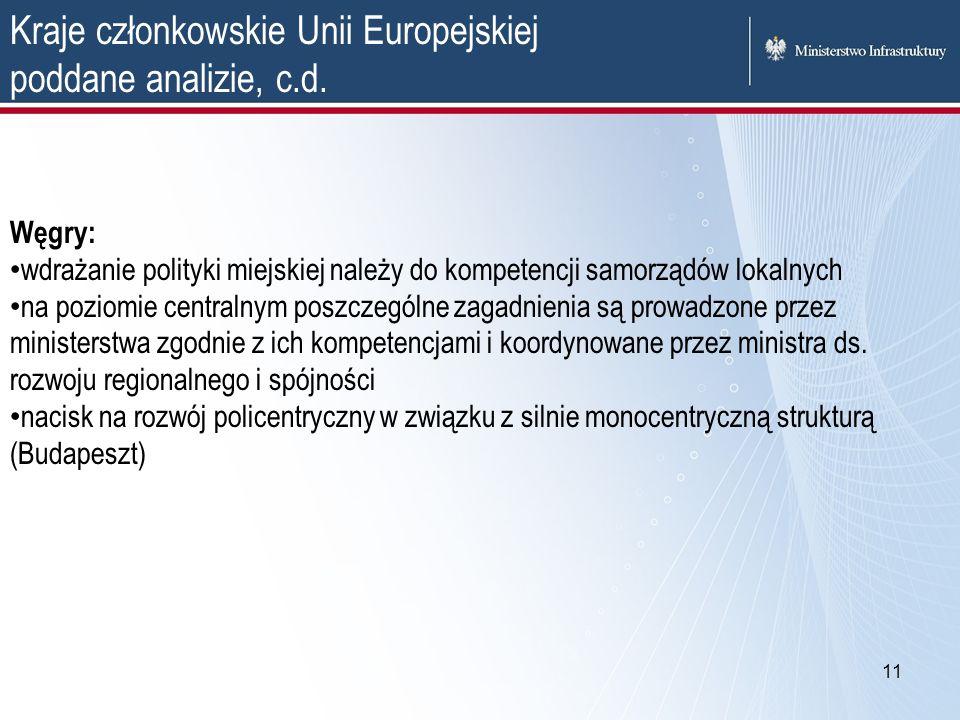 Kraje członkowskie Unii Europejskiej poddane analizie, c.d.