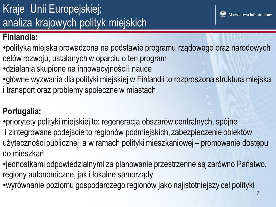 Kraje Unii Europejskiej; analiza krajowych polityk miejskich