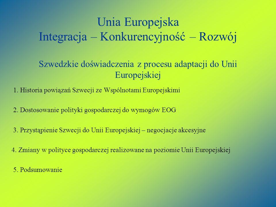 Unia Europejska Integracja – Konkurencyjność – Rozwój Szwedzkie doświadczenia z procesu adaptacji do Unii Europejskiej