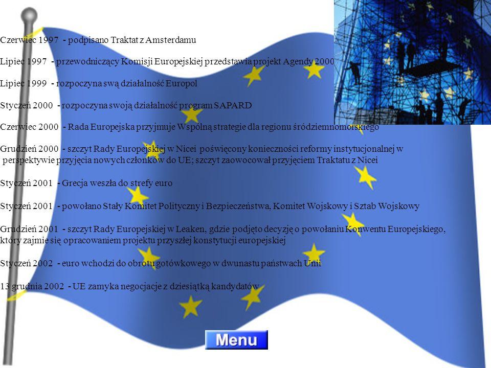 Czerwiec 1997 - podpisano Traktat z Amsterdamu Lipiec 1997 - przewodniczący Komisji Europejskiej przedstawia projekt Agendy 2000 Lipiec 1999 - rozpoczyna swą działalność Europol Styczeń 2000 - rozpoczyna swoją działalność program SAPARD Czerwiec 2000 - Rada Europejska przyjmuje Wspólną strategie dla regionu śródziemnomorskiego Grudzień 2000 - szczyt Rady Europejskiej w Nicei poświęcony konieczności reformy instytucjonalnej w