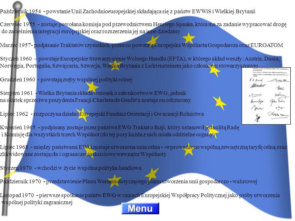 Październik 1954 - powstanie Unii Zachodnioeuropejskiej składająca się z państw EWWiS i Wielkiej Brytanii Czerwiec 1955 - zostaje powołana komisja pod przewodnictwem Henriego Spaaka, która ma za zadanie wypracować drogę
